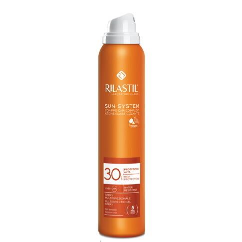Rilastil SUN SYSTEM Прозрачный спрей SPF 30 для чувствительной кожи с pro-DNA complex, 200 мл