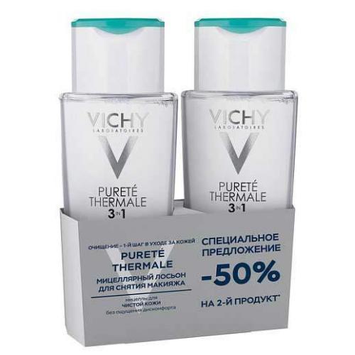 Vichy Дуопак Purete Thermale Мицеллярный лосьон для снятия макияжа 3в1, 2*200 мл