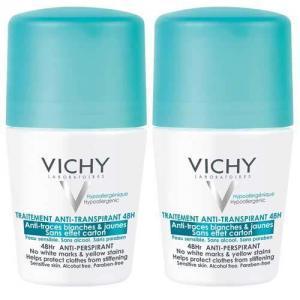 VICHY Дуопак Deodorants Дезодорант-антиперспирант шариковый против белых и желтых пятен 48ч