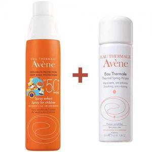 Набор Avene Солнцезащитный спрей для детей SPF 50+, 200мл. + Термальная вода 50мл