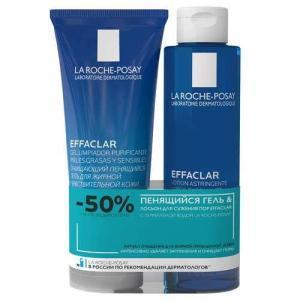La Roche-Posay Effaclar Гель очищающий для лица, 200мл + Лосьон для лица сужающий поры, 200 мл