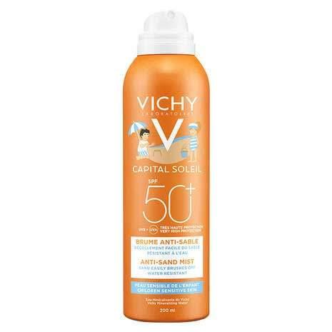 Vichy Ideal Soleil Детский спрей-вуаль анти-песок SPF50+ для лица и тела