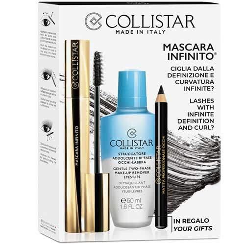 Collistar Набор косметический (Тушь для ресниц объёмная, 11мл + Карандаш для век профессиональный + Двухфазная жидкость для снятия макияжа с глаз и губ 50мл)