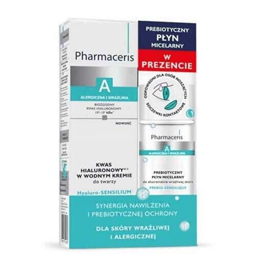 Набор Pharmaceris A Крем на водной основе с гиалуроновой кислотой Hyaluro-Sensilium, 40мл + Мицеллярная вода с пребиотиком Prebio-Sensilique, 50мл